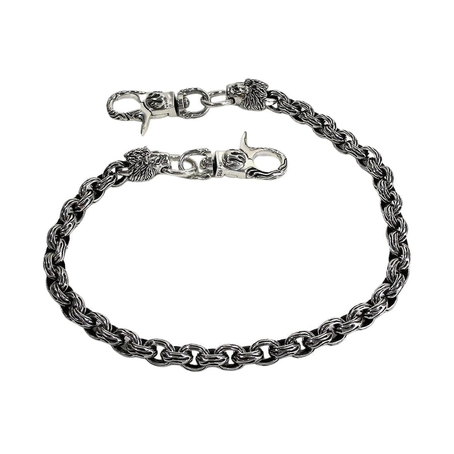 heavy lion head silver wallet chain