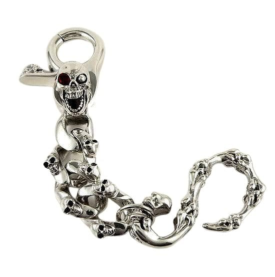 sterling silver mad skull keychain