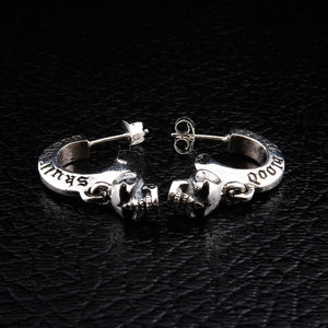 skull silver earrings