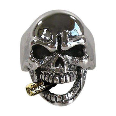 Mafia Skull Biker Ring - with Gold Cigar