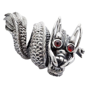 heavy dragon sterling silver ring