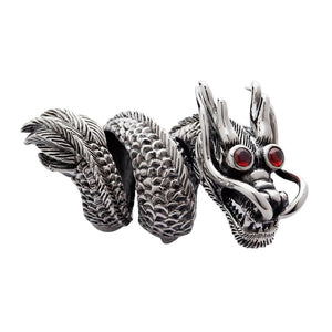 grande anello drago in argento sterling massiccio