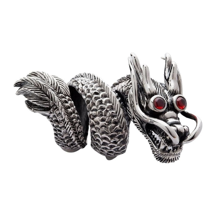 massive big silver dragon ring