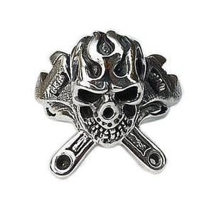 sterling silver wrench skull ring