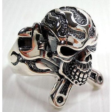 Mechanic Wrench Cross Skull Ring