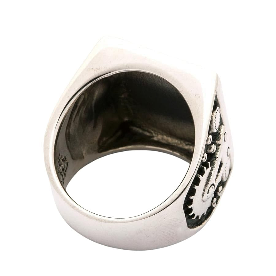 Mechanical Silver Biker Ring