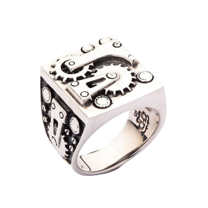 Mechanical Biker Sterling Silver Ring