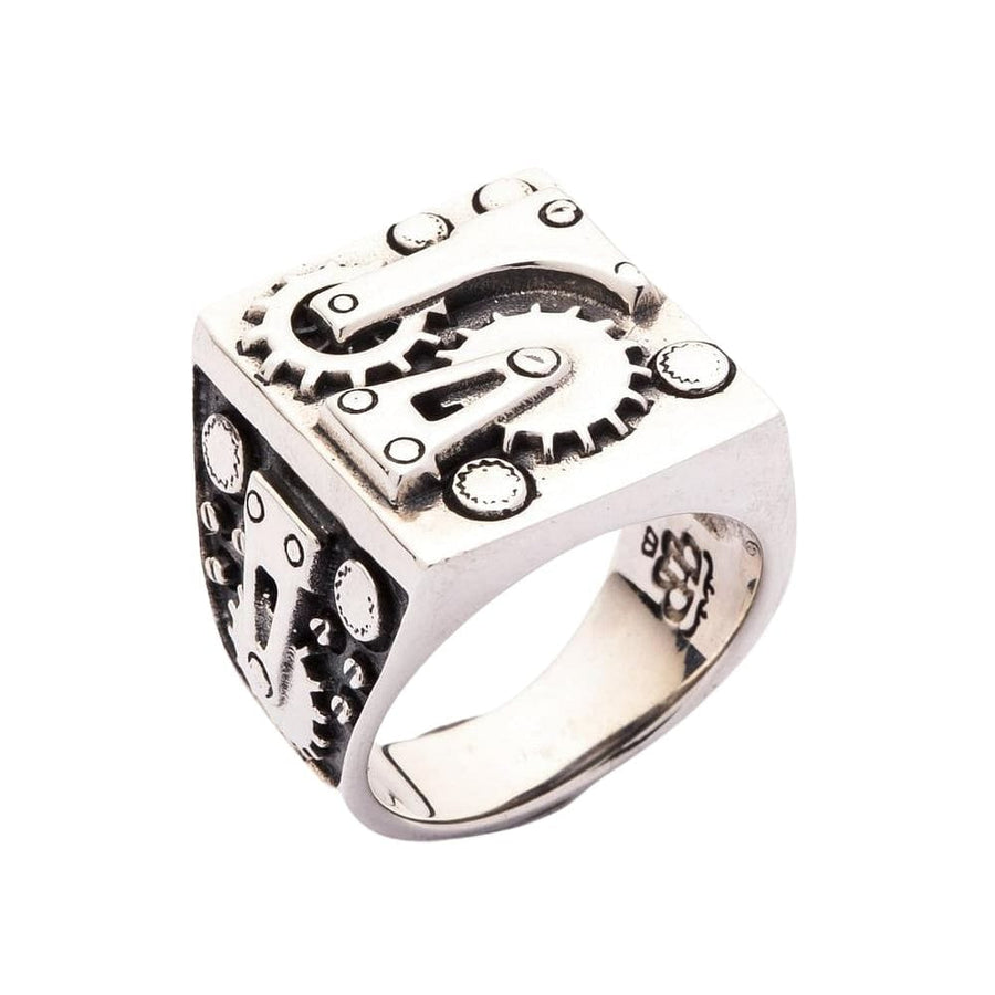 Mechanical Sterling Silver Biker Ring