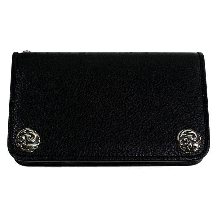black genuine cowhide leather chain wallet