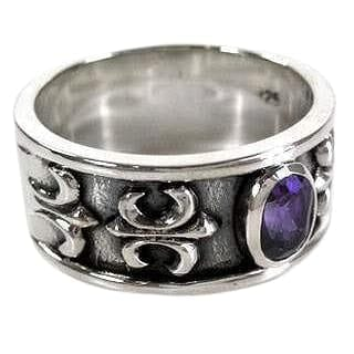 Mens amethyst ring-Bikerringshop