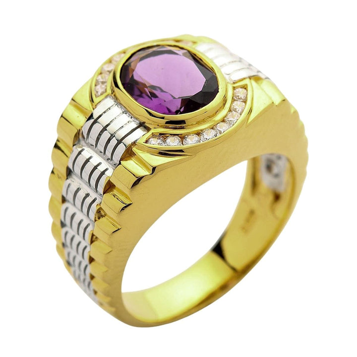 men's Amethyst rolex ring