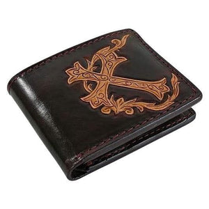 brown leather cross wallet