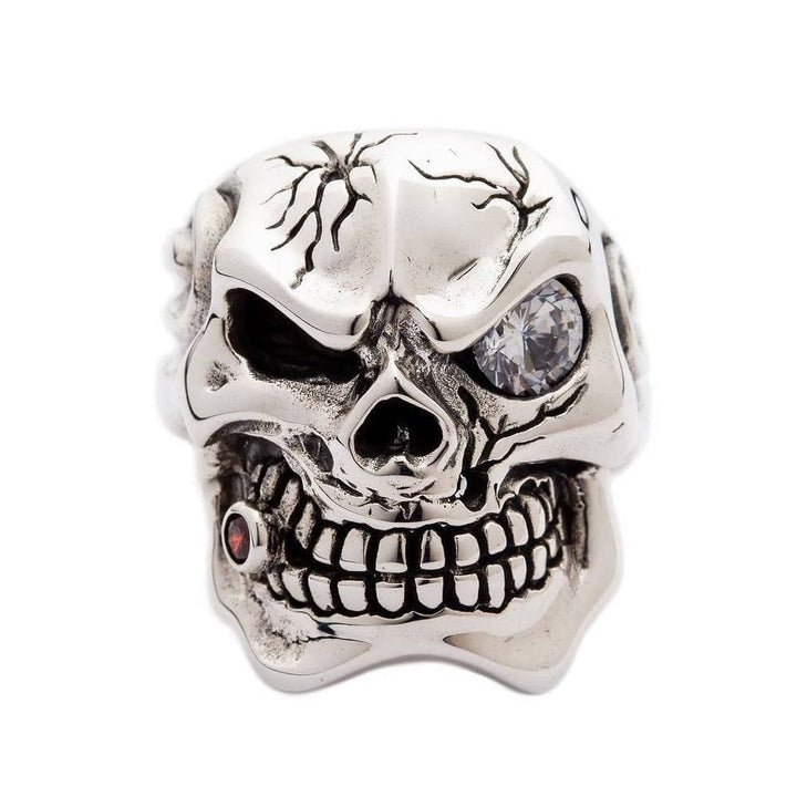 sterling silver men's diamond skull ring
