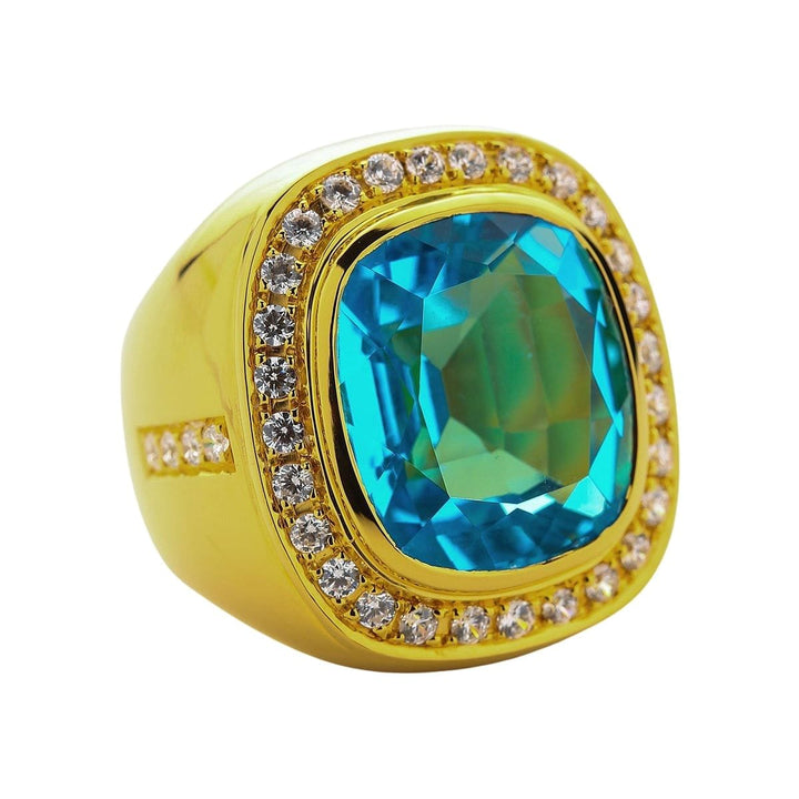 men's huge natural blue topaz ring