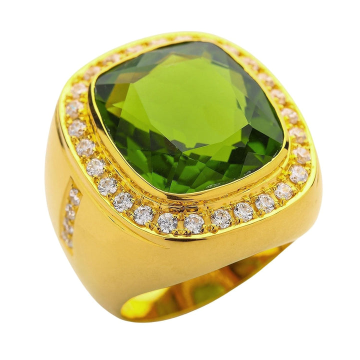 Yellow Gold Men's Huge Natural Green Peridot Ring