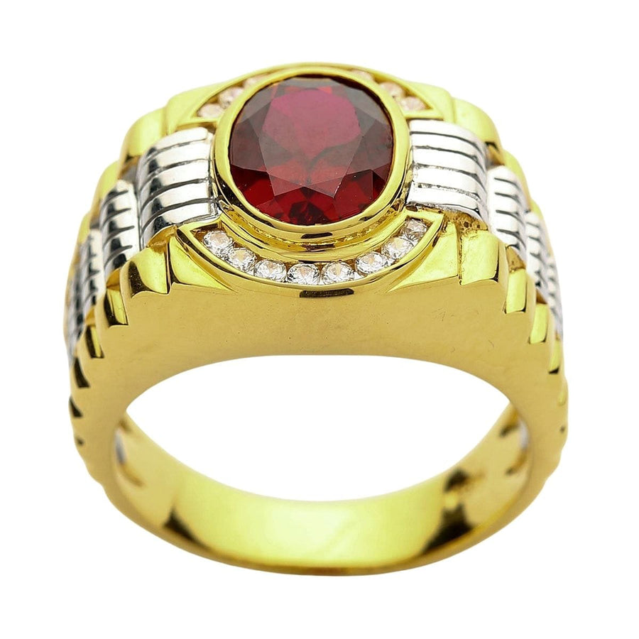 Mens Two Tone Yellow Gold Garnet Rolex Ring