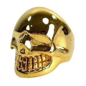 yellow gold skull metalic ring