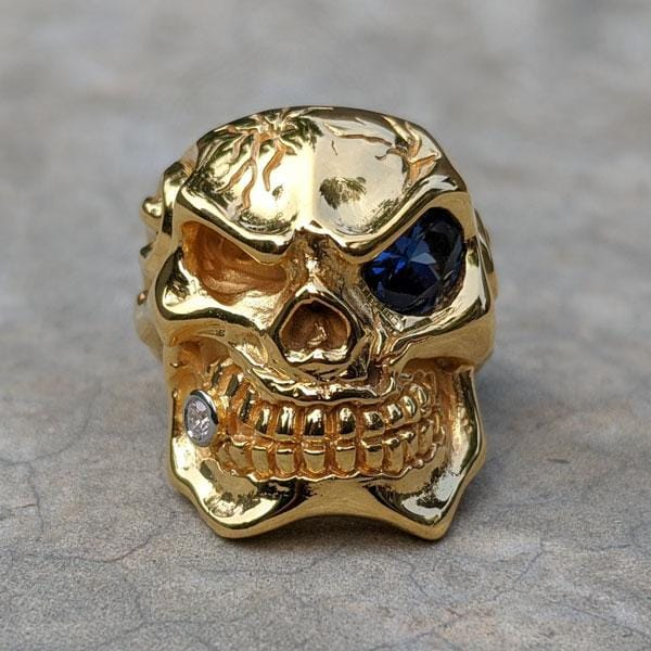yellow gold skull ring