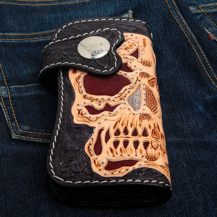 skull motorcycle leather biker wallet