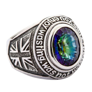 Union Jack UK-flaggring i sterling silver