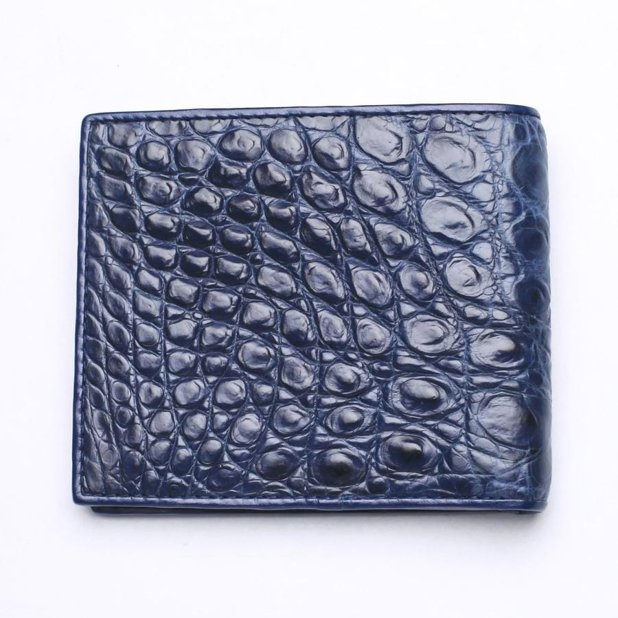 Navy Blue Crocodile Stomach Leather Wallets