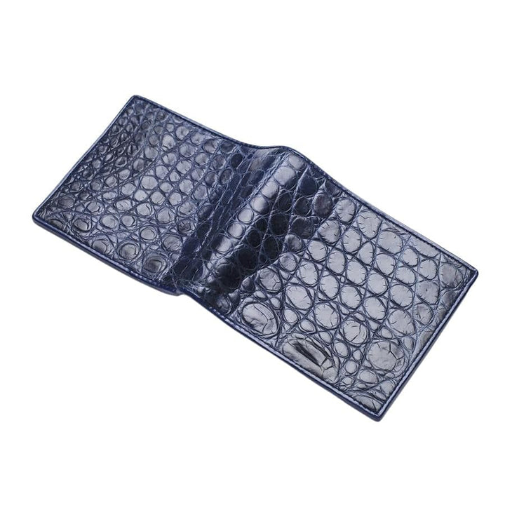 navy blue crocodile belly wallet