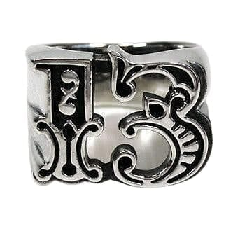 lucky number 13 silver ring