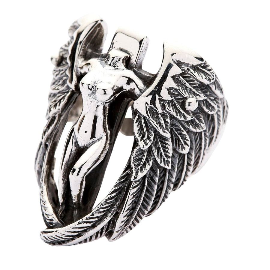sterling silver nude angel wings feather biker ring