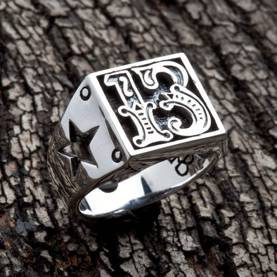 Number 13 Sterling Silver Biker Ring