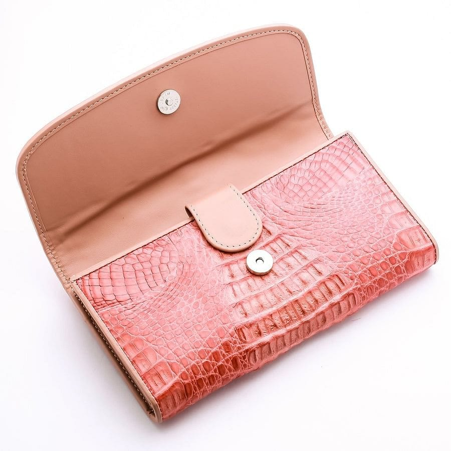 Old Rose Crocodile Leather Women Wallet