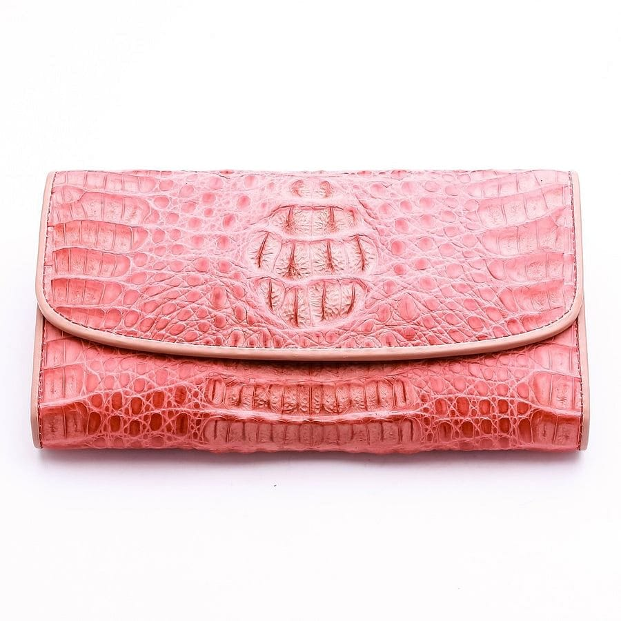 old rose crocodile long women's wallet