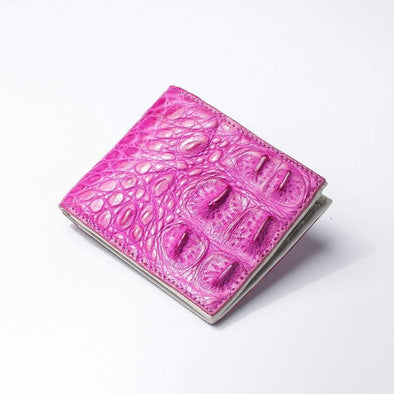 One of A Kind Chic Pink Crocodile Backbone Skin Wallet