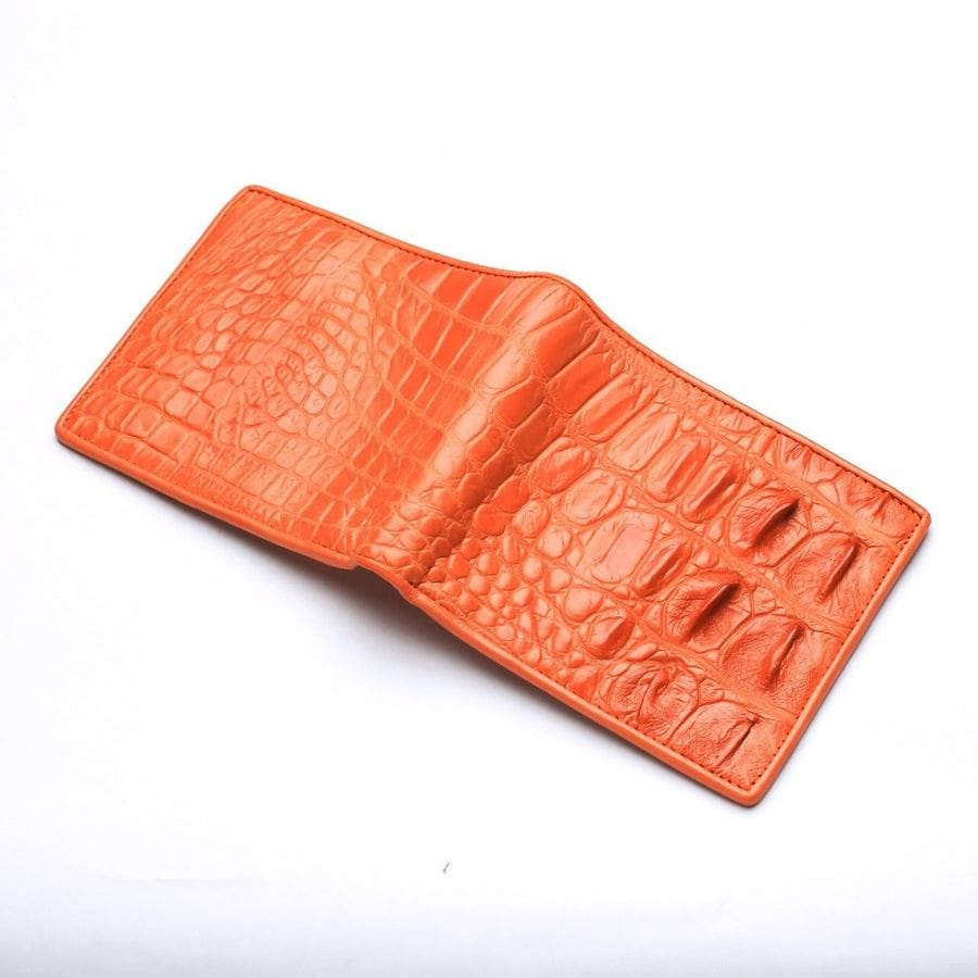 orange crocodile backbone skin mens wallet