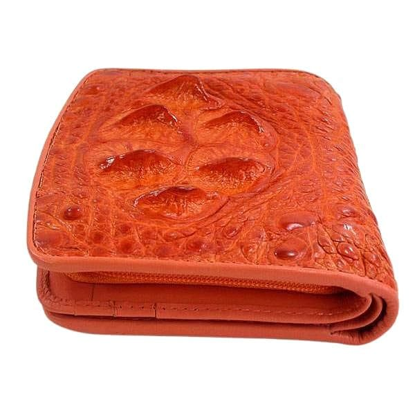 Orange Crocodile Leather Womens Wallets