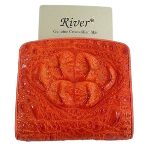 orange crocodile women's wallet