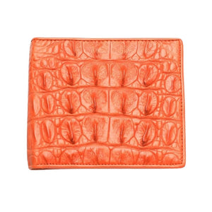 orange crocodile mens wallet