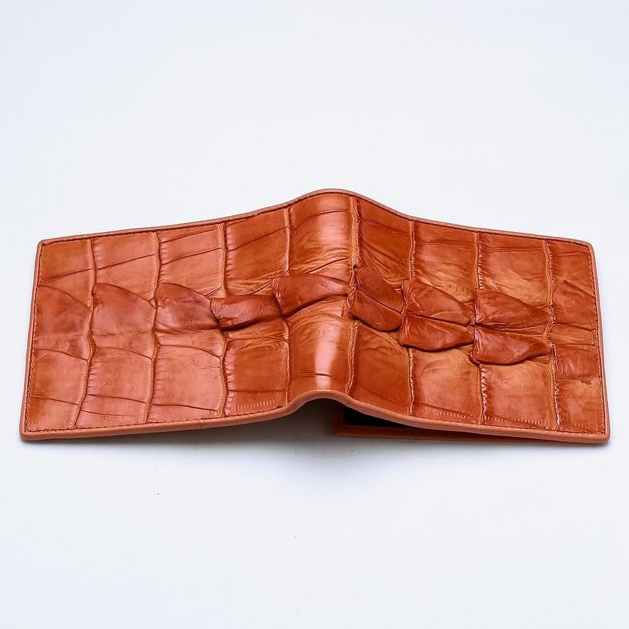 orange crocodile leather men's wallet