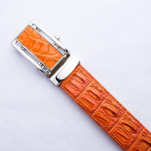 Orange Genuine Crocodile Skin Belts