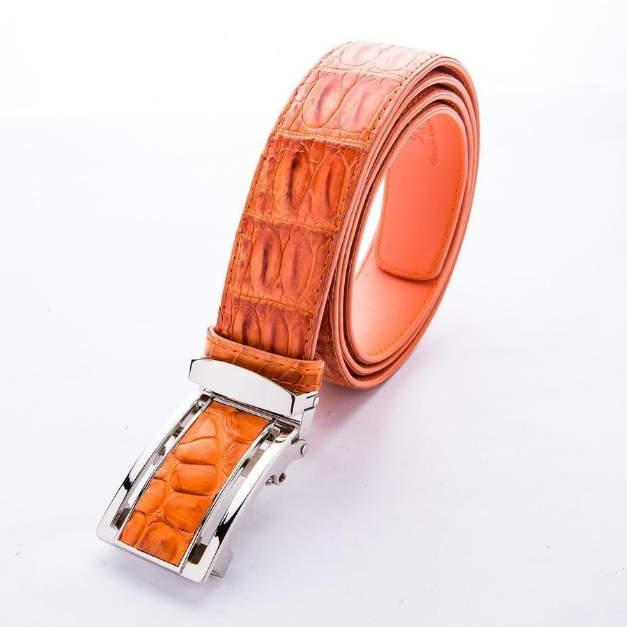 orange crocodile leather men's belt