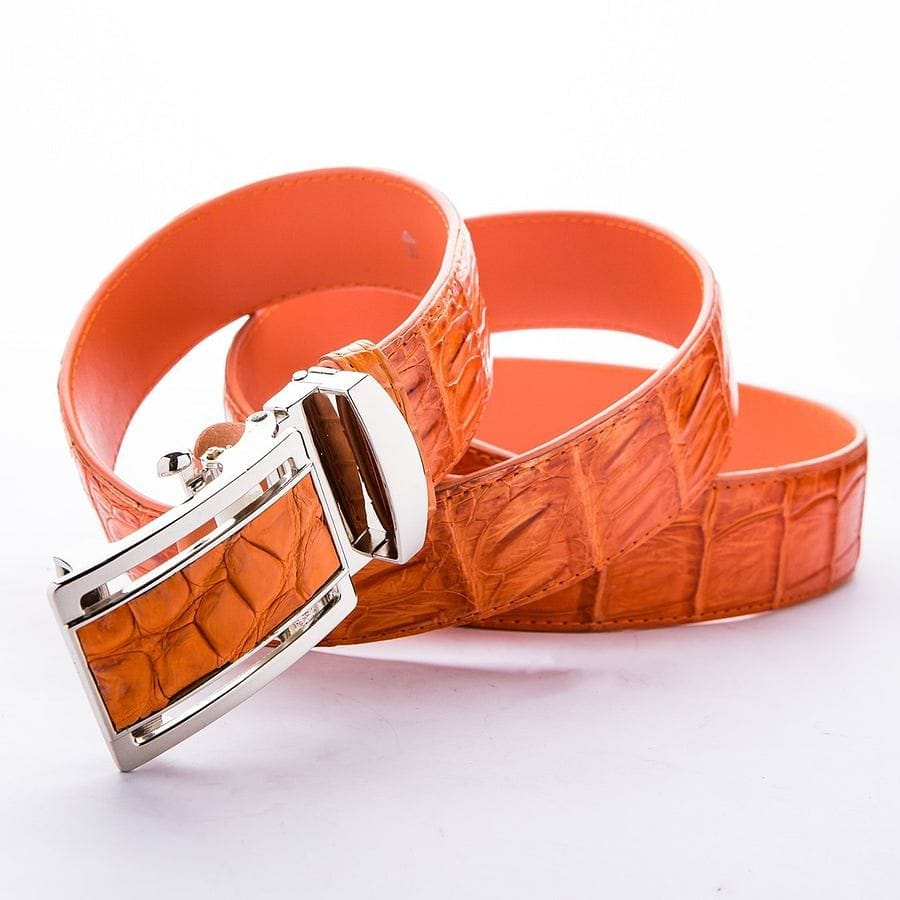 orange genuine crocodile belt