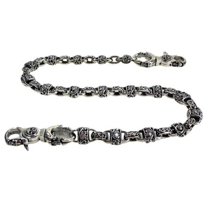 Sterling Silver Padlock Diamond Wallet Chain