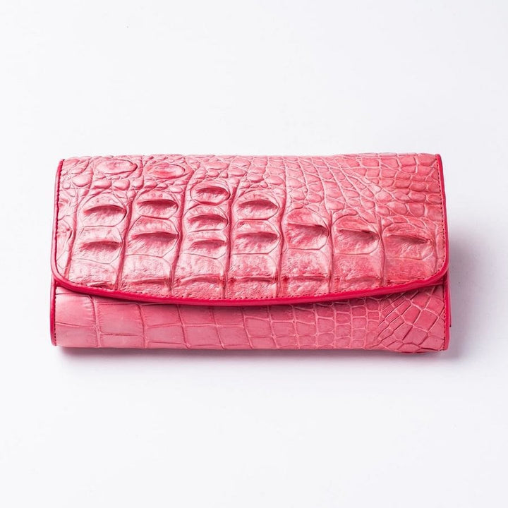 pink backbone croc alligator wallet