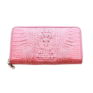 kulay rosas na crocodile leather pitaka