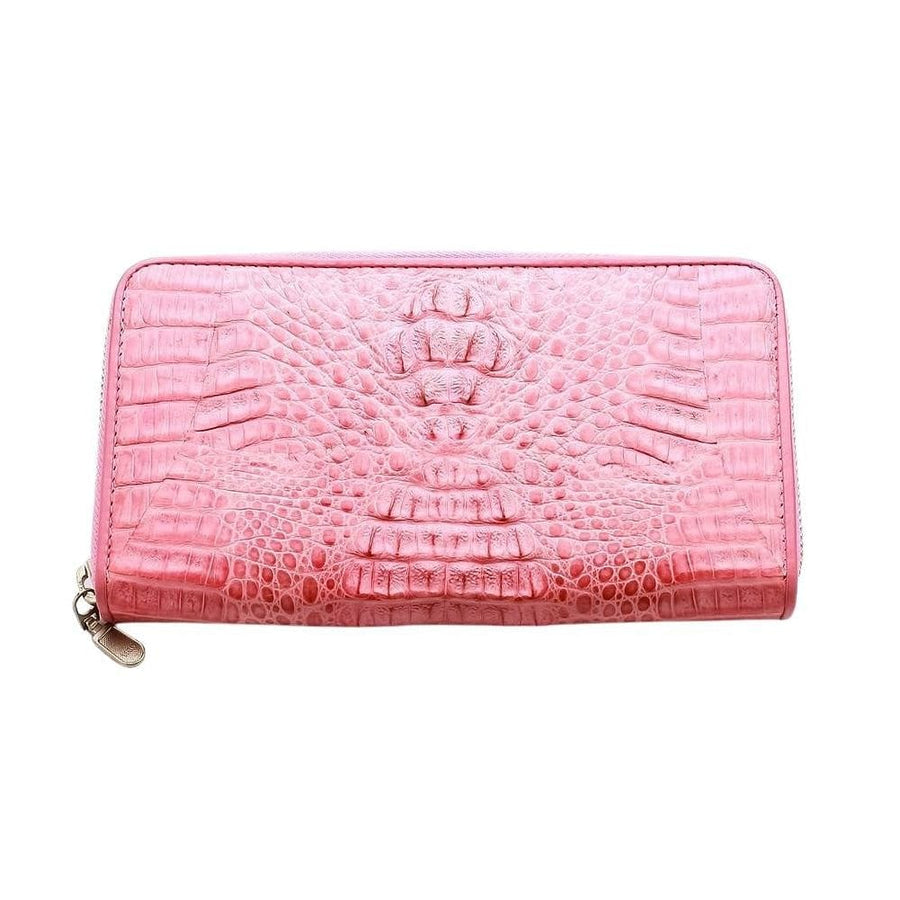 pink crocodile leather wallet purse