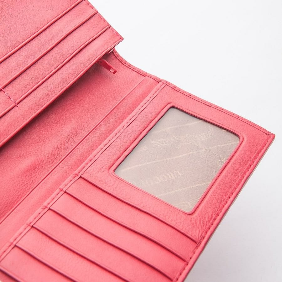 Pink Crocodile Hornback Skin Long Wallet