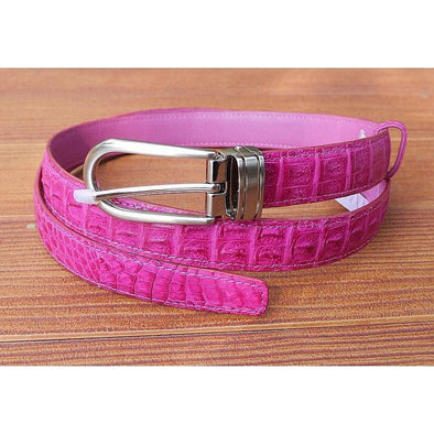 Pink Crocodile Leather Womens Belt