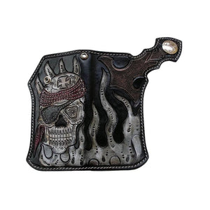 genuine leather biker skull wallet