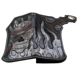 flame pirate skull motorcycle wallet