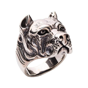 anillo pitbull de plata esterlina