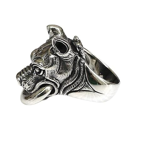 Sterling Silver Pitbull Dog Head Ring
